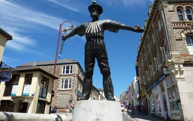 Waldon Security works in Redruth - Statue in main street